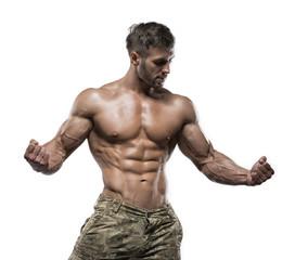 Muscular bodybuilder guy isolated over white background