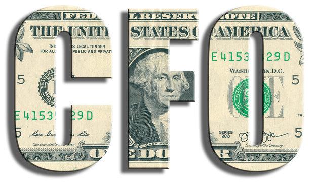 CFO - Chief Financial Officer. US Dollar texture.