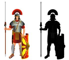 Roman empire legion warrior and silhouette. Vector, isolated on white