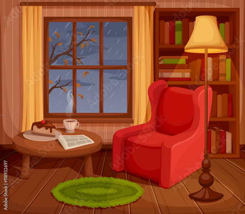 "Cozy Living Room Vector Illustration: ""Vector Illustration Of A Cozy Autumn Living Room With"