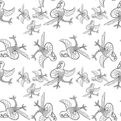 Coloring seamless pattern with dancing Caribbean parrot.