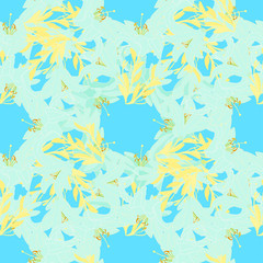 seamless pattern - grid with a blue lily on a blue background.