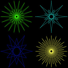 Set of geometric shapes. Green, blue, blue, yellow ornaments on a black background.