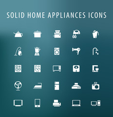 Set of 25 Universal Home Appliances Icons. Isolated Elements.