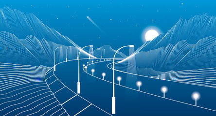 Road in the mountains, highway, white lines landscape, vector design art