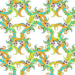 Seamless pattern with circle Caribbean fun dancing pair of parro