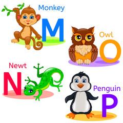 Alphabet kids animals MNOP