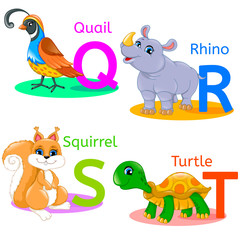 Alphabet kids animals QRST