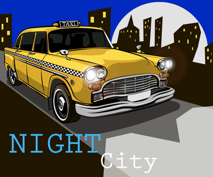 Taxi on the background of night city