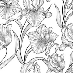 Flower bouquet pattern. Flourish etching pattern. Abstract floral seamless background