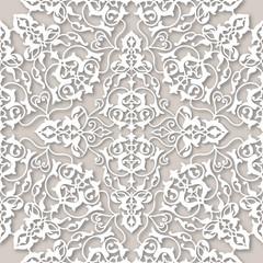 Flourish tiled pattern. Abstract floral geometric seamless oriental ornament