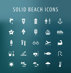 Set of 25 Universal Beach Icons. Isolated Elements.