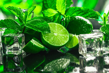 fresh green mint and lime ice cube close-up on a dark background