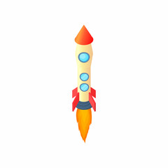 Yellow red rocket icon in cartoon style isolated on white background. Aircraft symbol