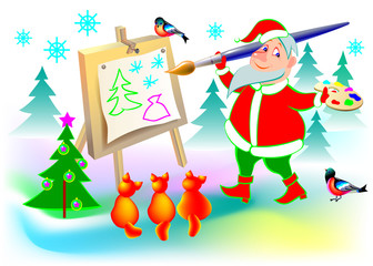 Illustration of funny Santa Claus painting a picture, vector cartoon image.