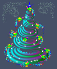 Fairy-tale birds flying around fantasy Christmas tree, vector cartoon image.