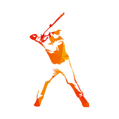 Abstract orange baseball player, vector isolated illustration.