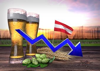 declining beer consumption in Austria. 3D render