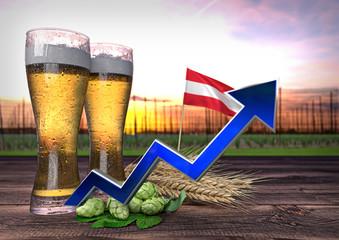 rising beer consumption in Austria. 3D render