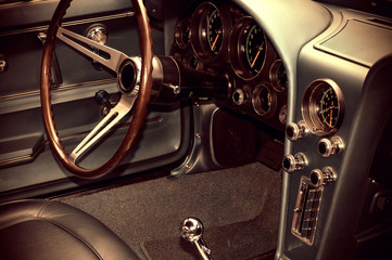 Vintage Looking Photo of Antique Car Interior