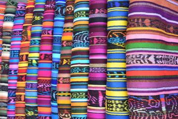 Beautiful traditional clothes at Friday market at San Francisco el Alto Guatemala