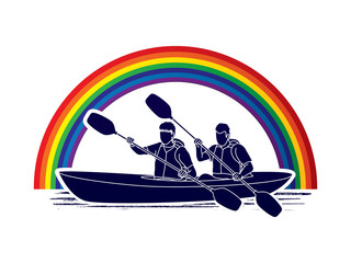 People kayaking designed on line rainbows background graphic vector.