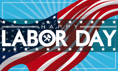 Patriotic Labor Day Banner with American Flag, Vector Illustration Fototapete
