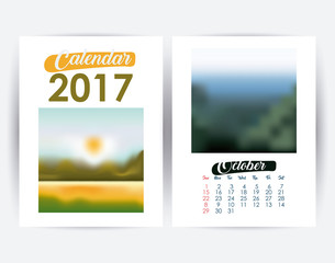 2017 october year frame landscape picture photo calendar planner month day icon. Colorful and Flat design. Vector illustration