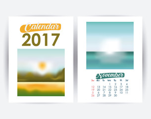 2017 november year frame landscape picture photo calendar planner month day icon. Colorful and Flat design. Vector illustration