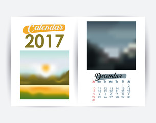 2017 december year frame landscape picture photo calendar planner month day icon. Colorful and Flat design. Vector illustration