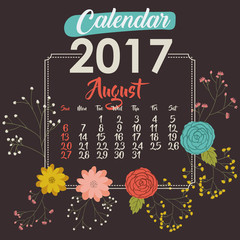 2017 august year calendar flowers floral garden planner month day icon. Colorful and Flat design. Vector illustration