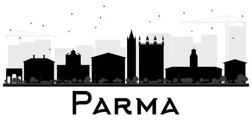 Parma City skyline black and white silhouette.