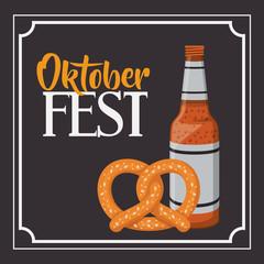 beer pretzel frame food meu oktoberfest icon. Colorful and Flat design. Vector illustration