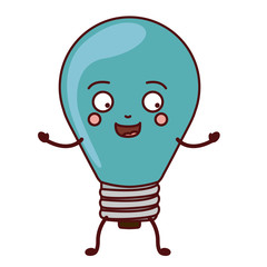 light bulb cartoon face power energy icon. Colorful and Flat design. Vector illustration