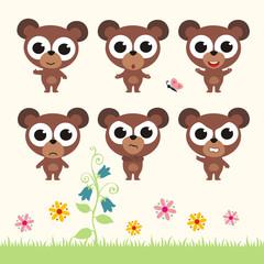 Vector set cute teddy bear. Collection isolated  teddy bear. Emotion cartoon  teddy bear.