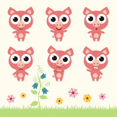 Vector set cute pig. Collection isolated pig. Emotion cartoon pig.