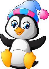 Cartoon funny baby penguin