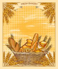 Bakery shop. Fresh bread. Vector illustration
