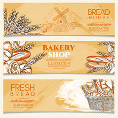 Bakery banner bakery shop fresh bread vector