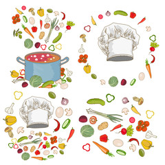Food ingredients collection fresh vegetables cooking utensils