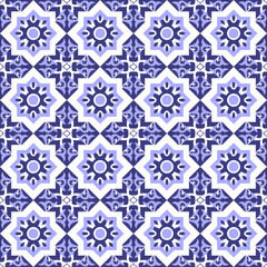 Mosaic kaleidoscope tiled pattern. Abstract geometric seamless oriental background. Ornament fabric pattern vector.
