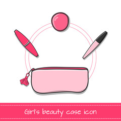 Beauty case icon vector isolated. Pink make-up case with lip gloss, mascara and powder. Facial cosmetics illustration. Beauty concept.