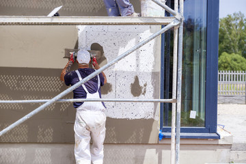 Elevation of the building Styrofoam insulation