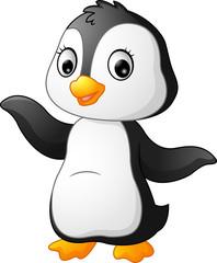 Cute funny penguin presenting