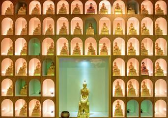 Golden buddha statues decoration beautiful sort