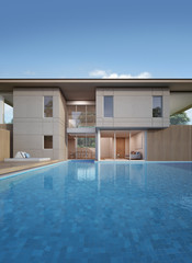 House with pool in modern design - 3d rendering