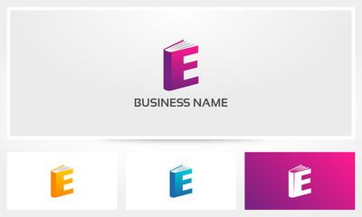 Letter E Book Cover Pages Logo