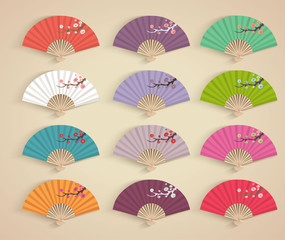 Set of decorative folding fans.