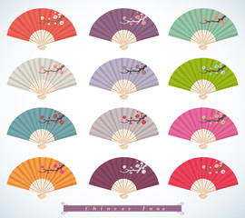 Set of decorative folding fans.