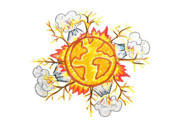 Hand drawn earth change icon on white background /global warming concept